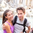 Happy couple portrait, Trevi Fountain — Stock Photo