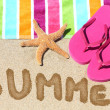 Summer vacation beach travel text — Stock Photo #40836741