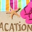 Vacation beach travel text — Stock Photo