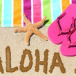 Foto de Stock  : Hawaii beach travel concept - ALOHA