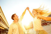 Dancing romantic couple in love in Venice, Italy — Stock Photo