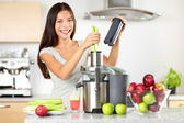 Vegetable juice raw food - healthy juicer woman — Stock Photo