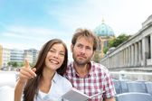 Travel tourist couple on boat tour Berlin, Germany — Stock Photo