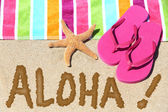 Hawaii beach travel concept - ALOHA — Stock Photo