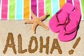 Hawaii beach travel concept - ALOHA — Stock Photo