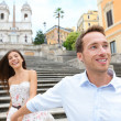 Romantic travel couple, Spanish Steps, Rome, Italy — Stockfoto