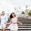 Happy couple on Spanish Steps, Rome, Italy — Stock Photo