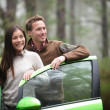 Driving in car - driver couple resting looking — Stock Photo