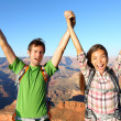 Happy people celebrating cheering in Grand Canyon — Photo
