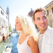 Couple lifestyle walking in Venice on travel together — Stock Photo