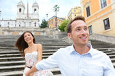 Romantic travel couple, Spanish Steps, Rome, Italy — Foto Stock
