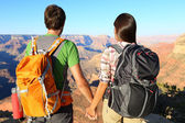 Couple holding hands looking at Grand Canyon — Stock Photo