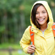 Stock Photo: Rain womhiking happy in forest