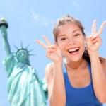 Tourist funny at Statue of Liberty, New York, USA — Stock Photo #41997649
