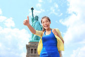New York City Statue of Liberty Tourist woman — Stockfoto