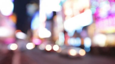 City lights and traffic background  Times Square — Stock Video