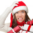Christmas stress - busy santa woman — Stock Photo #44255237