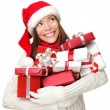 Christmas shopping woman holding gifts — Stok fotoğraf