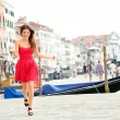 Happy summer girl running in dress, Venice, Italy — Stock Photo