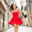 Happy beautiful woman in summer dress — Stock Photo #44255643