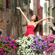 Woman happy in romantic Venice, Italy — Stock Photo