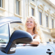 Woman driving car - female driver — Stock Photo