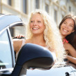 Car driver woman driving with girl friends — Stock Photo #44256047