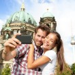 Travel couple selfie self portrait, Berlin — Stockfoto