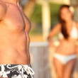 Male chest - woman looking at man torso — Stock Photo #44256193