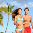 Couple having fun on beach vacation travel — Стоковое фото