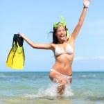 Beach vacation woman happy snorkeling — Stock Photo