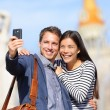 Lovers - young couple happy taking selfie photo — Stock Photo #44257945