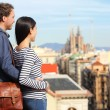 Barcelona - romantic couple looking at city view — Stock Photo #44258071