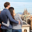 Romantic couple looking at view of Barcelona — Stock Photo #44258083