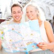 Travel banner, couple reading map in Venice, Italy — Stock Photo #44258149
