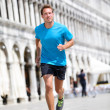 Running runner man jogging in Venice — Stock Photo