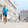 Runner man jogging and running in Venice — Stock Photo