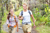 Outdoor activity couple hiking - happy hikers — Stock Photo