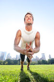 Clap push ups fitness man in Central Park New York — Stock Photo