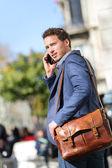 Business man on smart phone, Barcelona — Stock Photo
