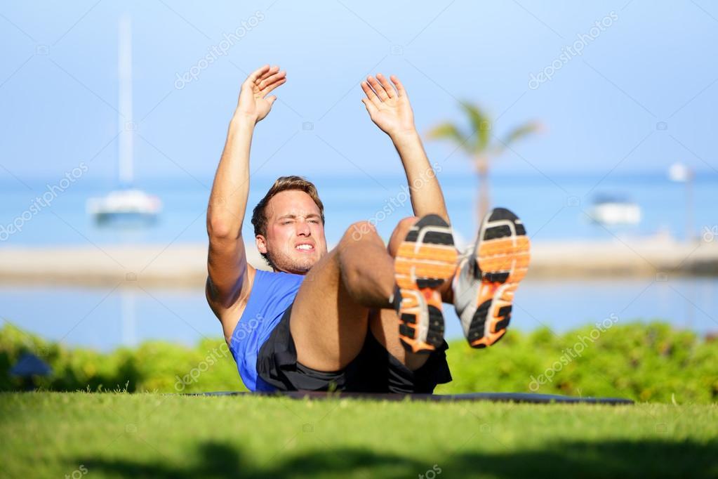 Jackknife Sit up Exercise Fit Male Athlete Cross Training Jackknife Sit up During Workout
