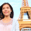 Eiffel tower Paris tourist woman — Stock Photo