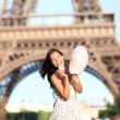 Paris Eiffel Tower woman — Stock Photo