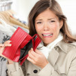 Empty wallet - woman with no money shopping — ストック写真