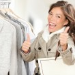 Happy excited shopping woman — Stock Photo