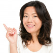 Pointing showing Asian woman — Stock Photo