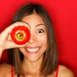 Funny food woman with red tomato — Stock Photo