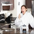 Yawning coffee woman in morning — Stock Photo