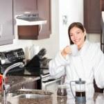 Woman drinking morning coffee — Stock Photo #21563933
