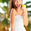 Ice cream girl excited — Stock Photo #21563937